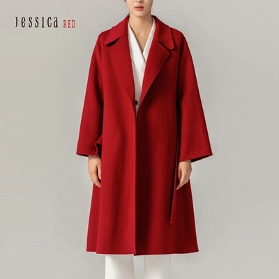 JESSICA RED - 氣質翻領綁帶長羊毛大衣外套(紅色)
