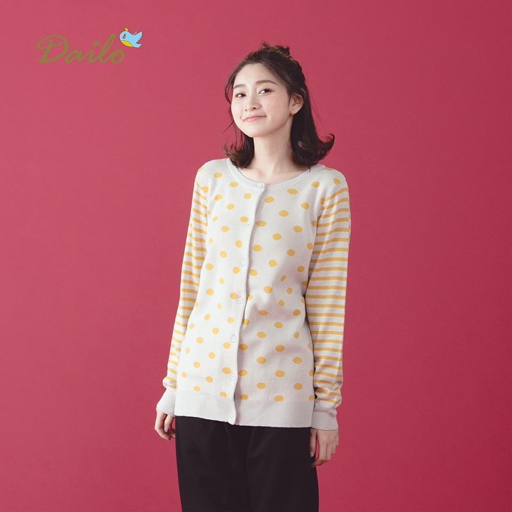 新降【Dailo】條紋點點開襟-針織衫(三色)