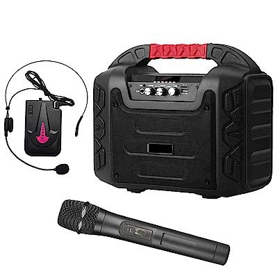 大聲公樂福型無線式多功能行動音箱/喇叭 (手持+耳麥)組