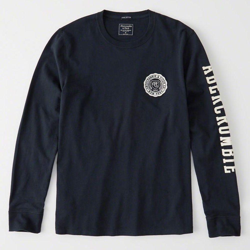 AF a&f Abercrombie & Fitch 長袖 T恤 黑 0972