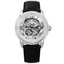 ARIES GOLD 自動上鍊 鏤空錶盤 藍寶石水晶玻璃 真皮機械錶-銀白x黑/43mm