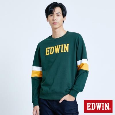 EDWIN 塗鴉系列 運動風配色厚長袖T恤-男-墨綠色