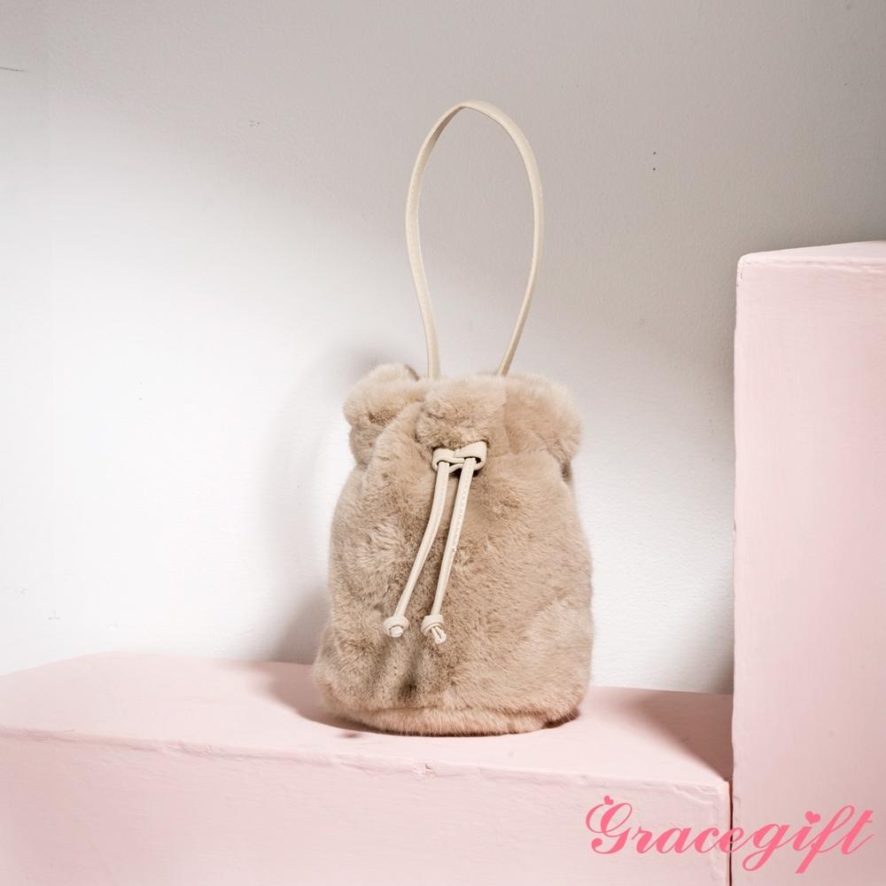 Grace gift-毛茸茸2way拉繩水桶包 淺棕