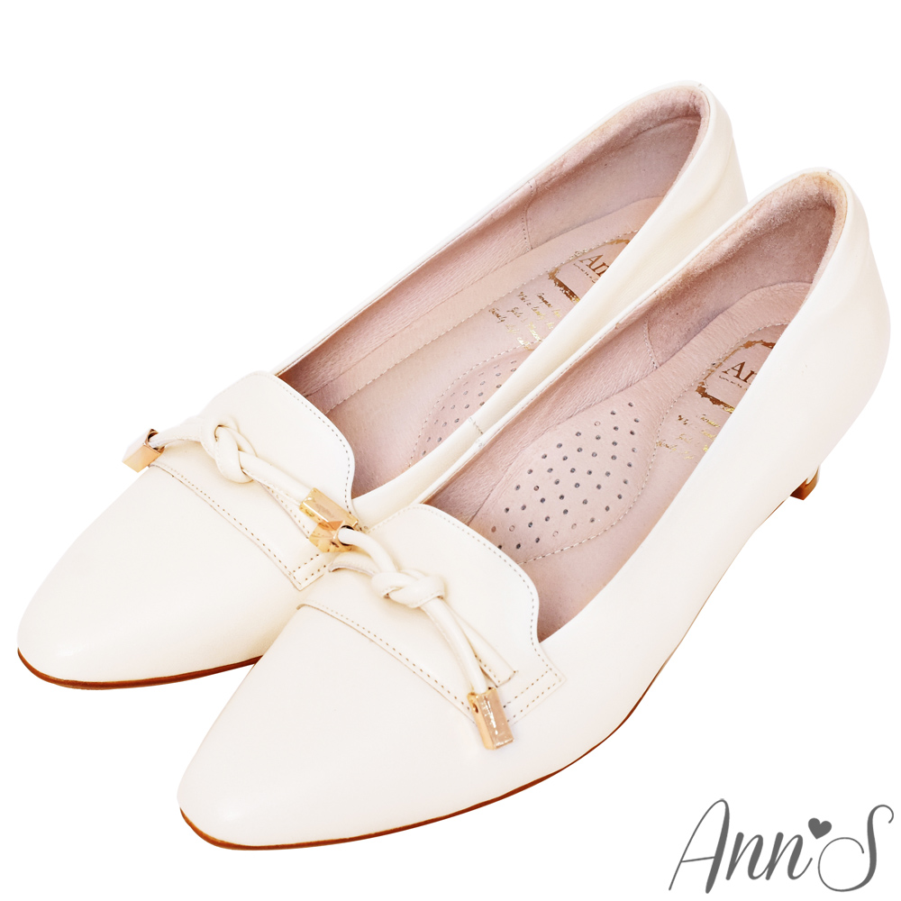 Ann'S打造知性品味-頂級小羊皮單結低跟包鞋-米