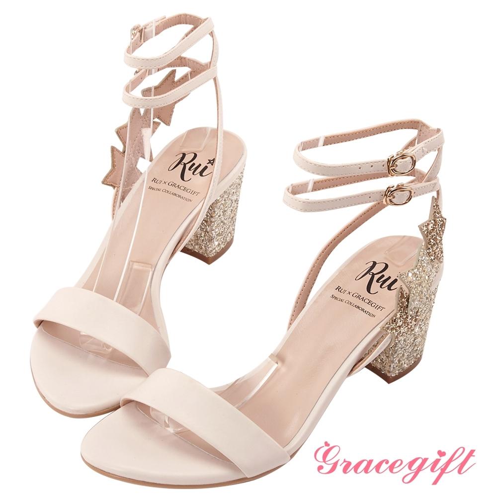 Grace gift X Rui-聯名星星碎石繞踝涼鞋 米白