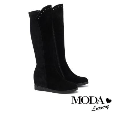 長靴 MODA Luxury 率性不羈異材質拼接內增高厚底長靴-深黑