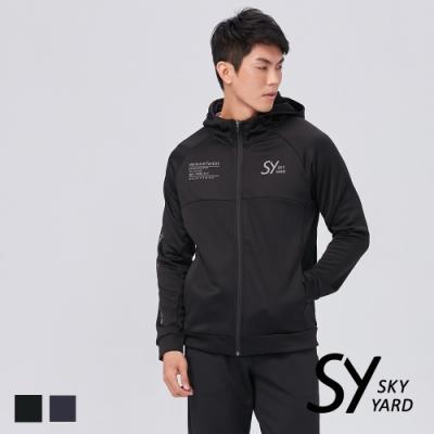 【SKY YARD 天空花園】修身文字印花刷毛連帽外套-黑色