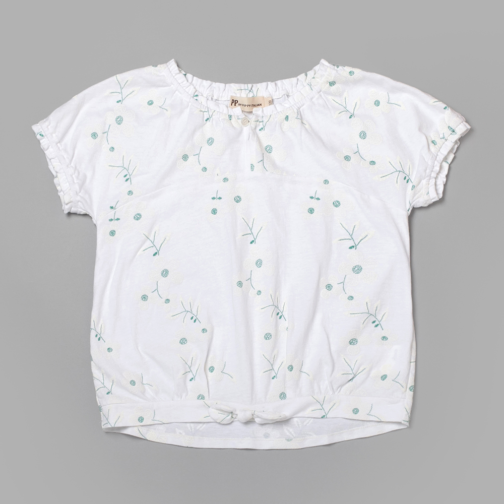 PIPPY 印花剪接舒適上衣 白