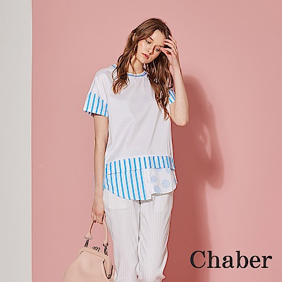 Chaber巧帛 條紋拼接襯衫高磅棉長版造型上衣-晴空藍