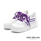 Tino Bellini活力耀眼透膚厚底綁帶休閒鞋_紫