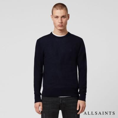 ALLSAINTS MODE MERINO 公羊頭骨刺繡修身純羊毛針織上衣-墨藍