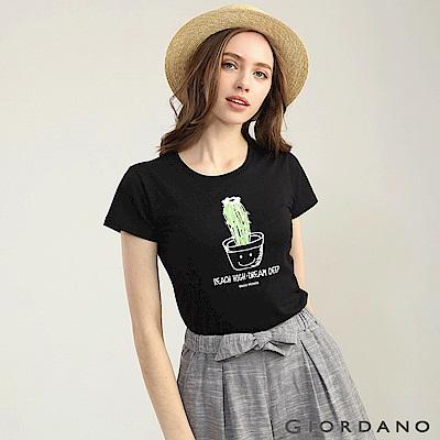 GIORDANO 女裝可愛植物印花短袖T恤-62 標誌黑