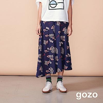 gozo 意象幾何不對稱傘狀褲裙(二色)