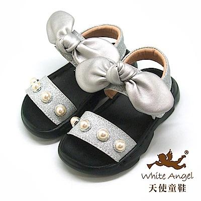天使童鞋 可愛珍珠大蝴蝶涼鞋(小童)i939-銀
