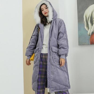 粉嫩色燈芯絨長款連帽大衣 (共二色)-Kugi Girl