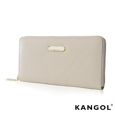 福利品KANGOL英國袋鼠經典優雅長夾十字紋頭層皮-乳白