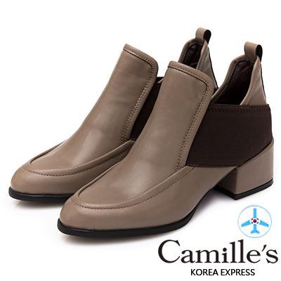 Camille's 韓國空運-深口樂福拼接雙側繃帶踝短靴-可可咖