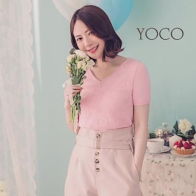 東京著衣-YOCO  鄰家女孩愛心綴珍珠短袖針織上衣-XS.S