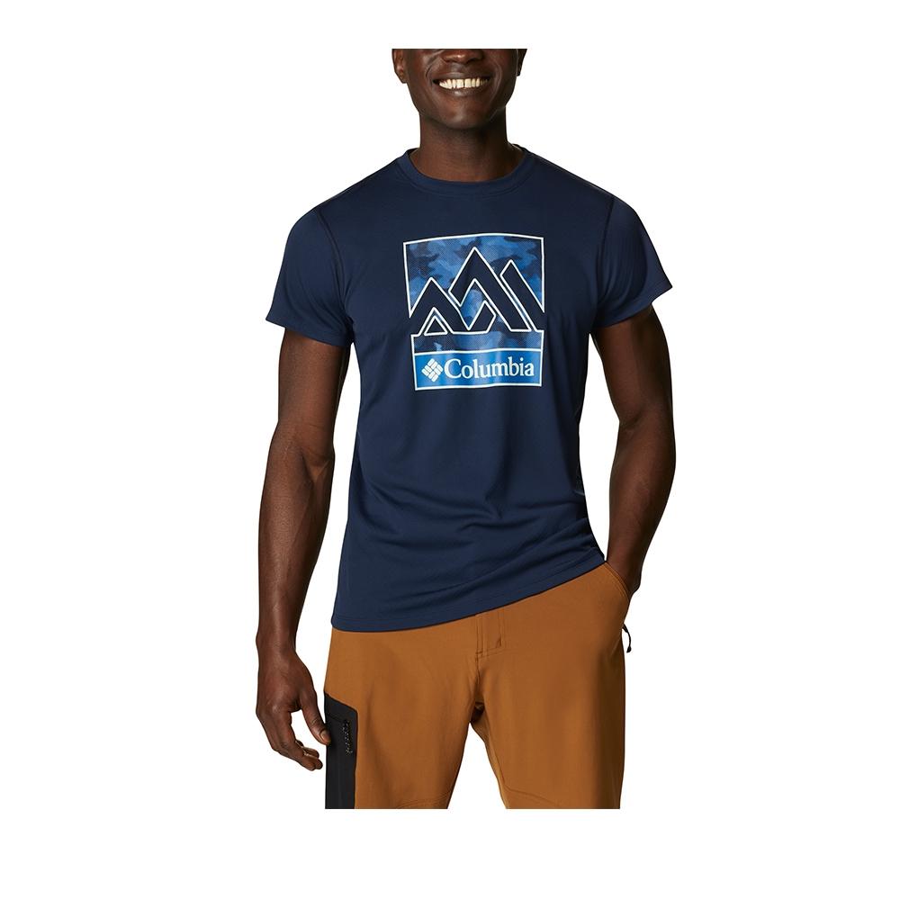Columbia 哥倫比亞 男款- UPF30涼感快排LOGO短袖上衣- 活動款 UAE64630 (深藍)