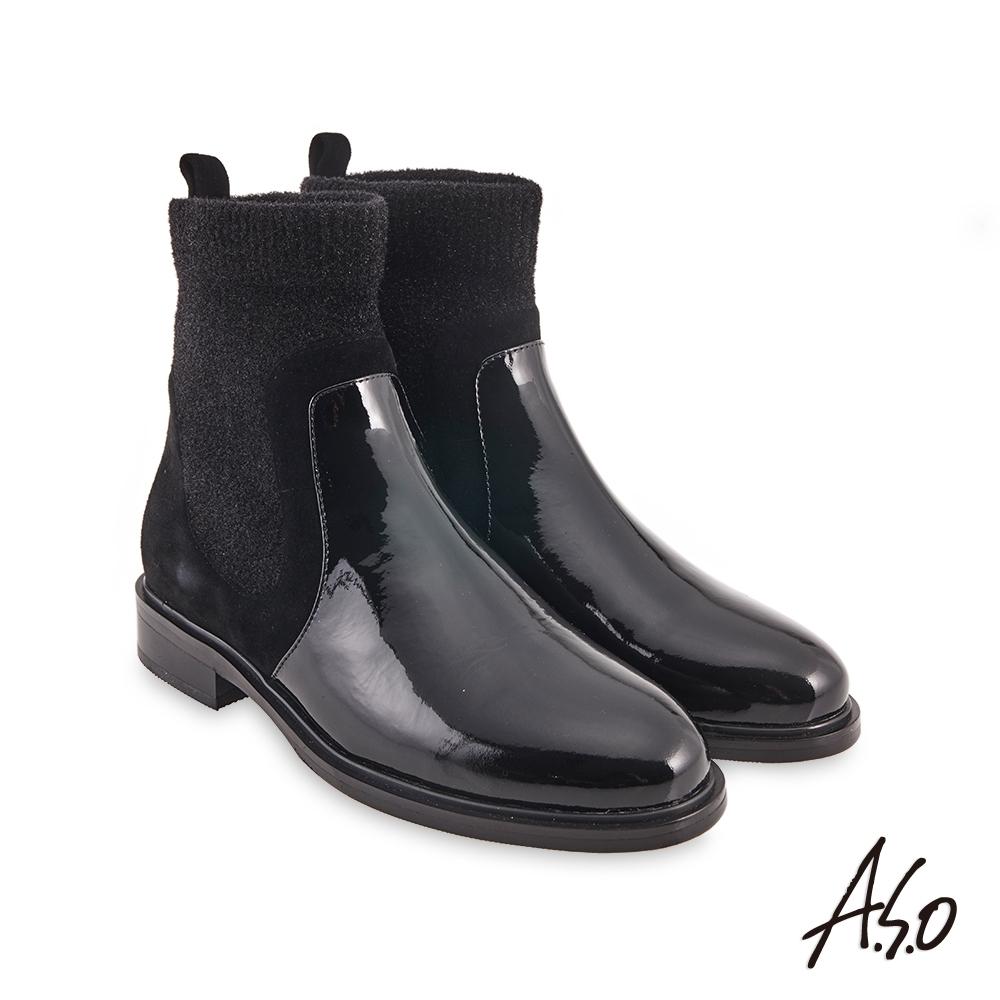 A.S.O  時尚流行彈性布異材質拼接真皮短靴-黑
