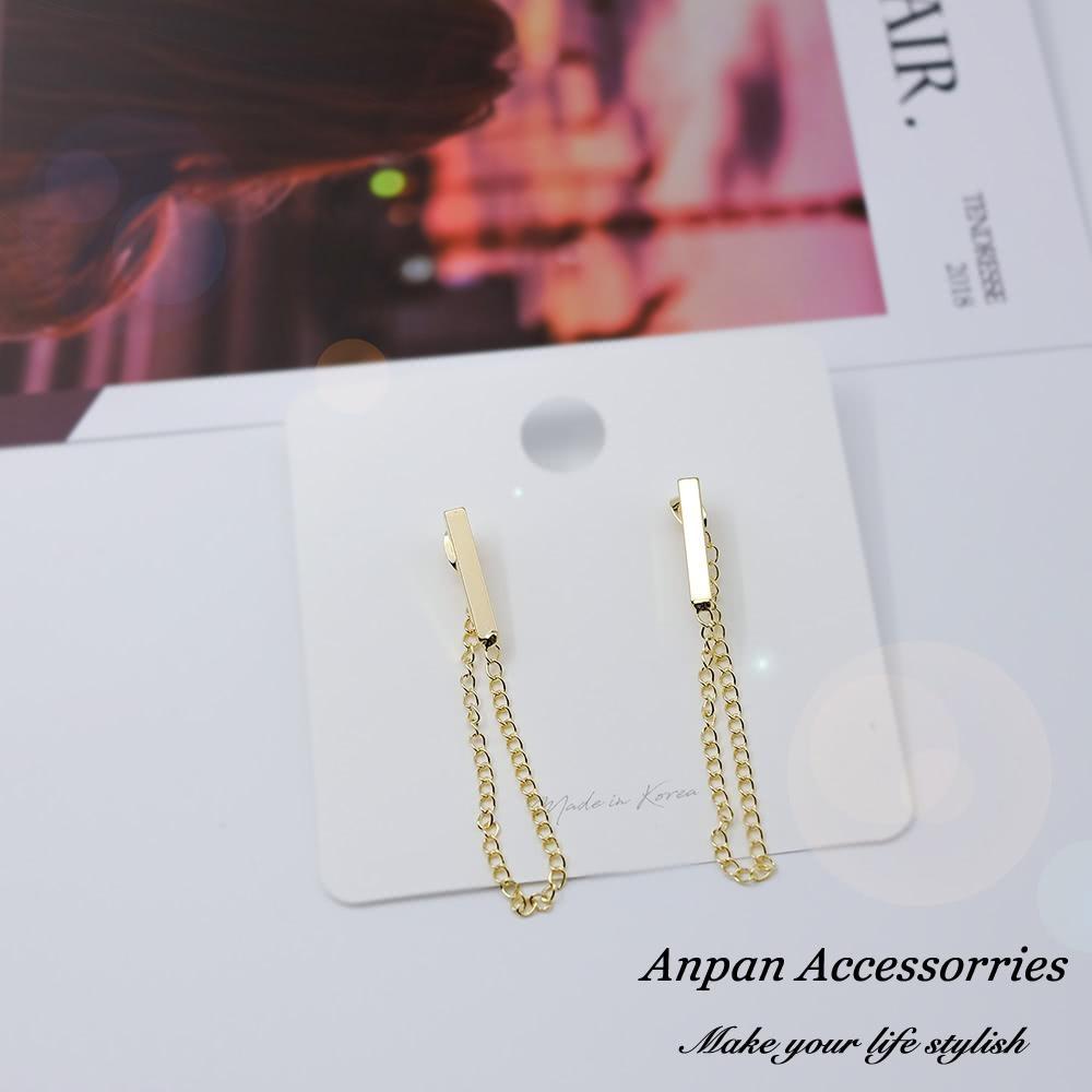【Anpan 愛扮】宋慧喬新韓劇男朋友同款一字鍊條臉型修飾925銀針耳釘式耳環