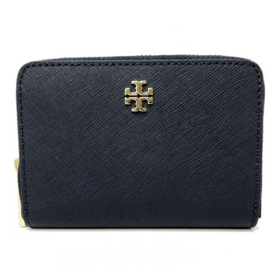 TORY BURCH 防刮牛皮ㄇ型拉鍊零錢鑰匙包(深藍)