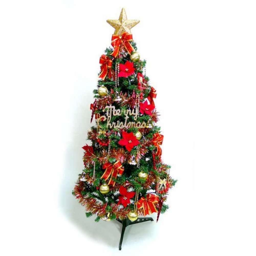 摩達客 15尺一般型裝飾綠聖誕樹 (+紅金色系配件組)(不含燈)本島免運費