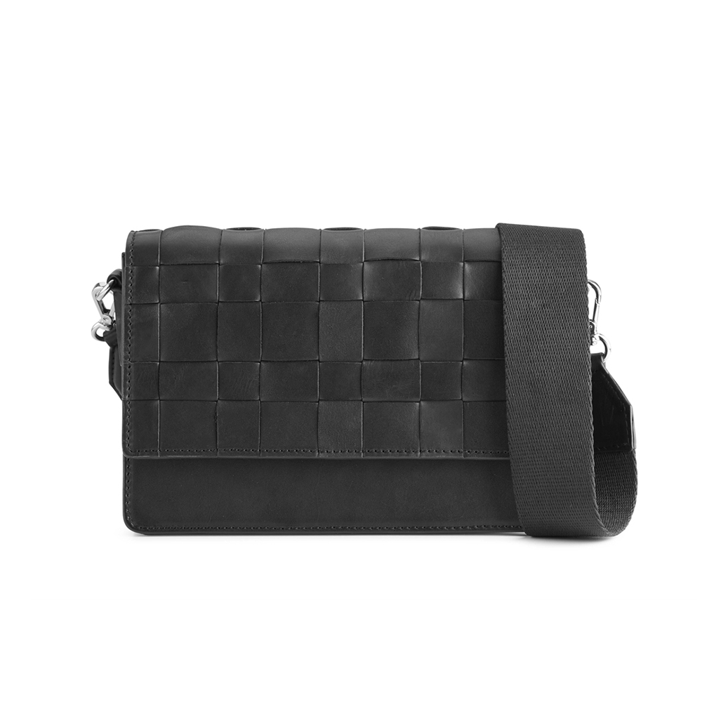 MARKBERG Margit 丹麥手工牛皮編織格紋馬吉特寬帶方包 斜背 肩揹包(極簡黑)