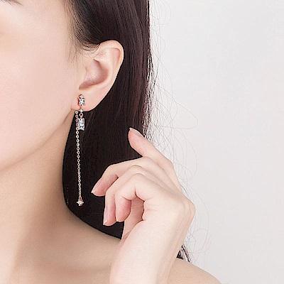 梨花HaNA 韓國925銀她的私生活方鑽玫瑰金耳線耳環