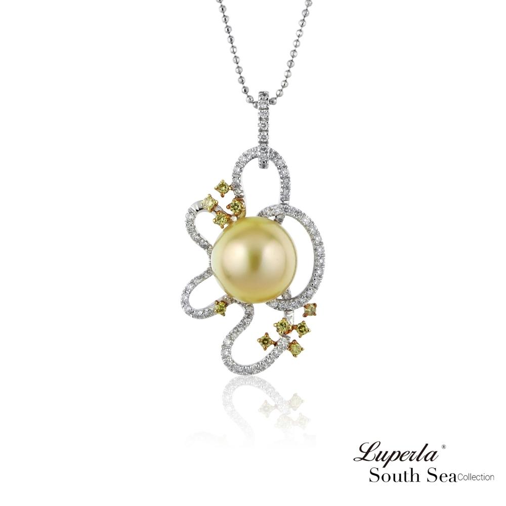 大東山珠寶 真鑽18K白金南洋金珍珠項鍊  群星璀璨