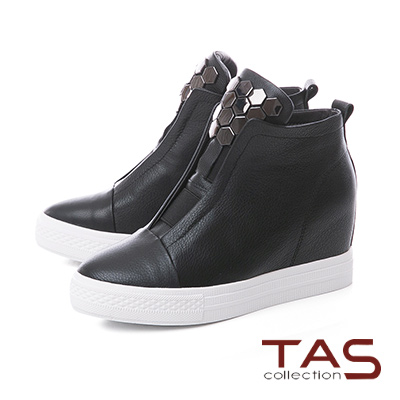 TAS 蜂巢金屬素面牛皮內增高休閒鞋-經典黑