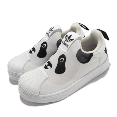 adidas 休閒鞋 Superstar 360 C 運動 童鞋 愛迪達 貝殼頭 襪套 動物造型 中童 白 灰 Q46317