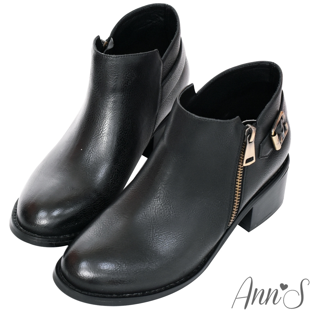 Ann'S感官時尚-古銅拉鍊擦色粗跟短靴-黑