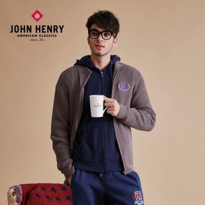 【JOHN HENRY】簡約品牌刺繡針織外套-棕