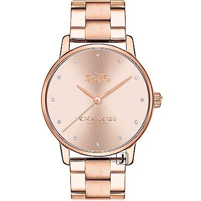 COACH Delancey  經典摩登馬車圖騰腕錶(14502929)-粉紅金/36mm