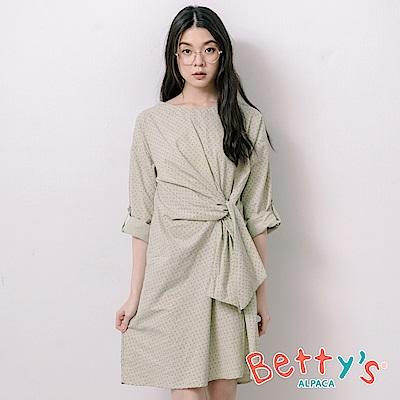 betty's貝蒂思 優雅印花側腰綁帶洋裝(淺綠)