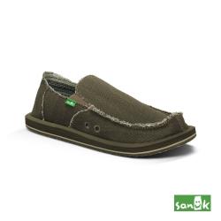 SANUK 素面麻布懶人鞋-男款(墨綠色)
