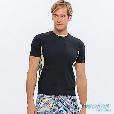 澳洲Sunseeker泳裝男士快乾短袖衝浪上衣-部落黑