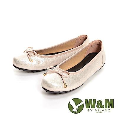 W&M 光澤感蝴蝶結造型豆豆鞋 女鞋-閃亮粉(另有閃亮黑)