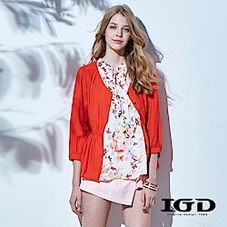 IGD英格麗 夏日浪漫悠閒風綁帶開襟造型罩衫-橘色