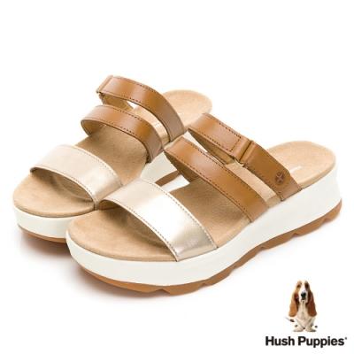 Hush Puppies 機能型透氣皮革厚底拖鞋-棕色