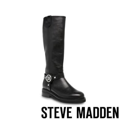 STEVE MADDEN-MADMAX 時尚前衛款 金屬飾釦造型長靴-黑色