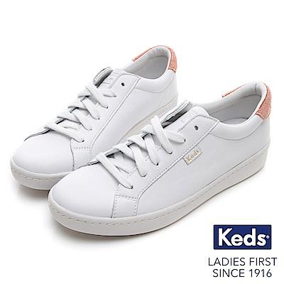 Keds ACE 復古運動皮質綁帶休閒鞋-白/粉