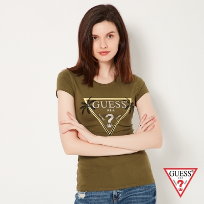 GUESS-女裝-椰子樹修身倒三角logo短 T-墨綠