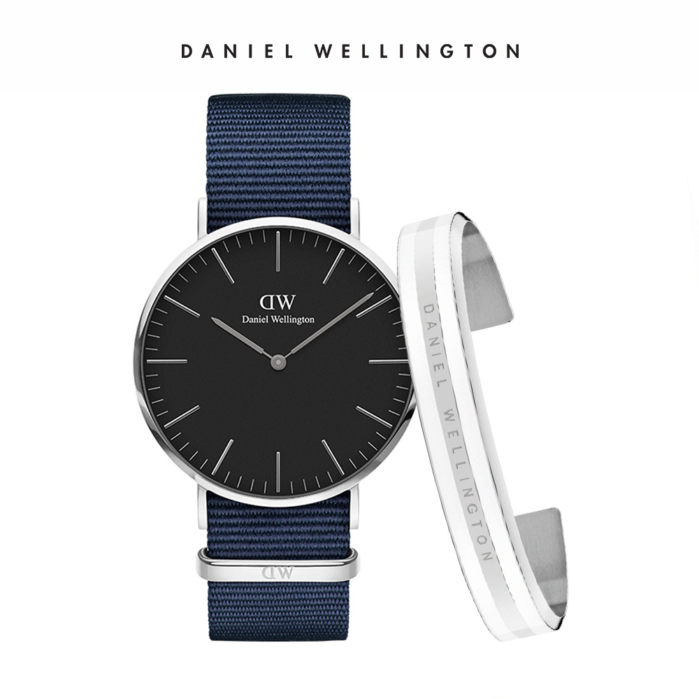 DW 禮盒 官方旗艦店 40mm銀框黑面星空藍織紋錶+時尚奢華手鐲 銀x白-M