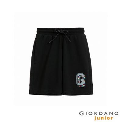 GIORDANO 童裝精緻刺繡抽繩短褲 - 07 標誌黑