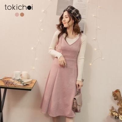 東京著衣 清甜好感V領絨布顯腰身吊帶裙