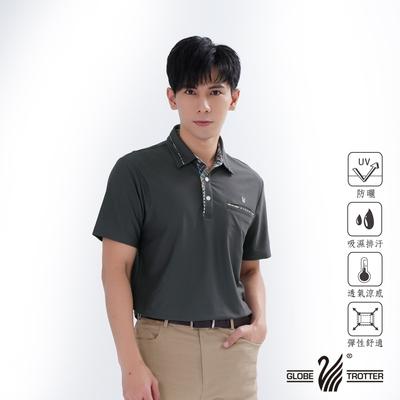 【遊遍天下】男款格紋抗UV吸濕排汗POLO衫GS1012深灰