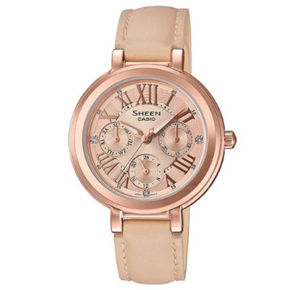 SHEEN 羅馬數字魅力優雅風格皮帶腕錶(SHE-3034GL-9)卡其X玫瑰金/32mm