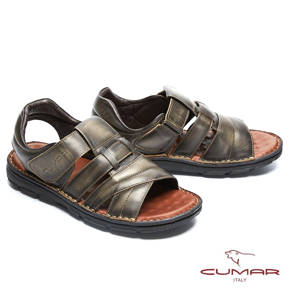 CUMAR 舒適真皮 經典舒適皮涼鞋-黑